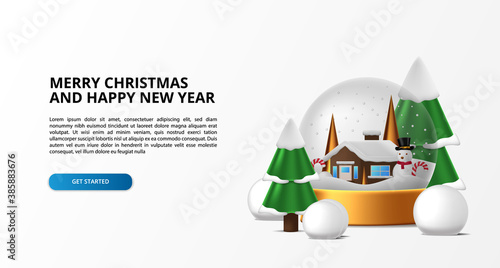 Leinwand Poster Glass orbs decoration for merry christmas and happy new year with house winter