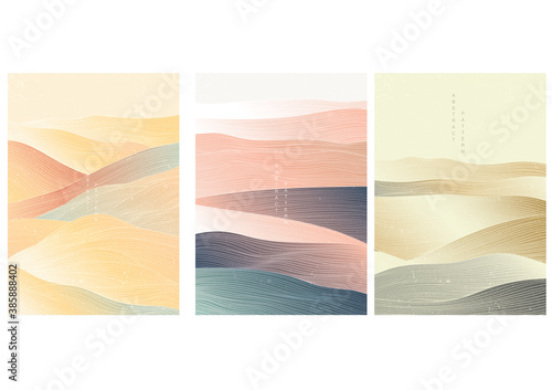 Obraz Japanese background with line wave pattern vector. Abstract template with geometric pattern. Mountain layout design in oriental style. - fototapety do salonu
