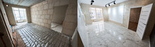 Comparative Image Of A Room - Before And After Repairs. Unfinished Empty Walls, Doorway, Floor Heating System Vs Shiny Tiled Floor, Plastered Walls, White New Door. Renovation Concept