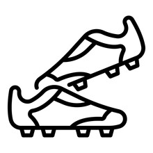 Soccer Shoes Icon. Outline Soccer Shoes Vector Icon For Web Design Isolated On White Background