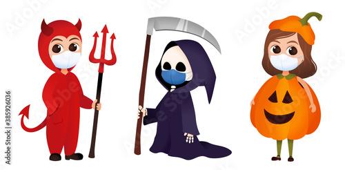 Fototapeta Covid halloween costume set, children with face mask