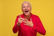Middle Age Senior Woman Laughi...