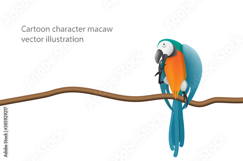 Playful posture macaw character perched on a branch isolated on white background Wallpaper Mural