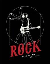 Da Vinci Man Playing Guitar Vector Illustration. Rock Music Poster. Rock Music T-shirt Print With Vitruvian Man.