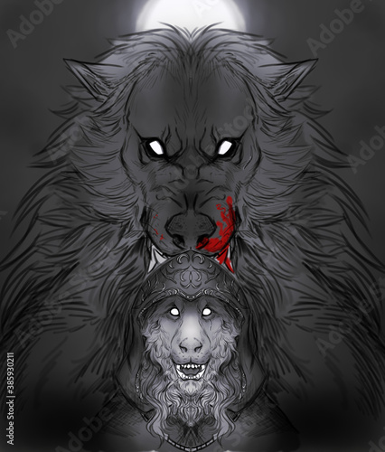 Fotografie, Obraz Digital illustration of two werewolves: a hooded one in front and a giant one on