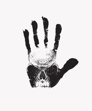 Black Handprint With A Sinister Human Skull On A White Background. Scary Vector Banner On The Theme Of Occultism, Satanism Or Alchemy With The Hand-drawn Skull On The Open Palm
