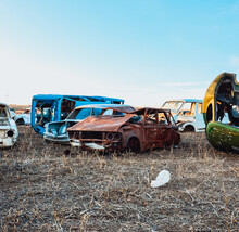 Old Car Wreck, Old Abandoned Rusted Car. Wrecked Vehicles