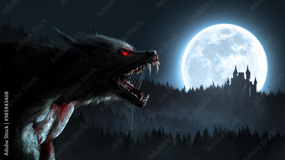 Fototapeta Werewolf growl in the moonlight over a full moon in the forest with a gothic house - concept art - 3D rendering