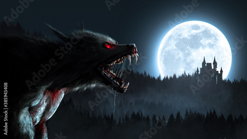 Werewolf growl in the moonlight over a full moon in the forest with a gothic house - concept art - 3D rendering
