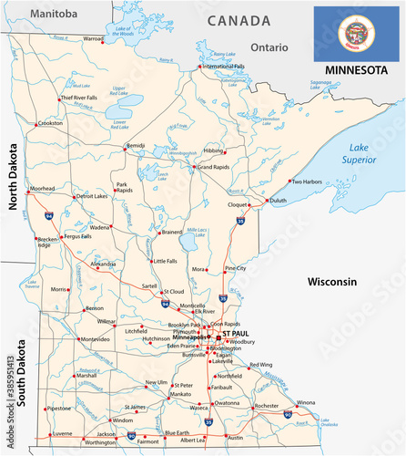 Obraz minnesota federal state road vector map with flag - fototapety do salonu