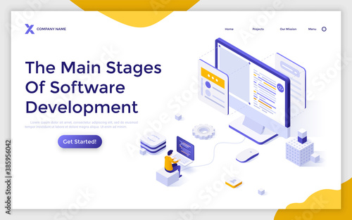 Isometric Vector Landing Page