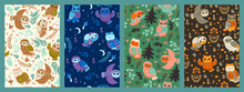 Set Of Cute Patterns With Owls. Vector Graphics