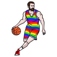 Illustration Of A Bearded Basketball Player With Ball In Hand Wearing A Rainbow Colored Jersey. Lgbtq