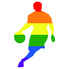 Lgbtq Basketball Logo. Mann Mit Ball In Der Hand.