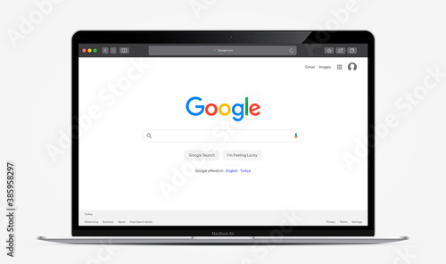 TURKEY, ANTALYA - OCTOBER 17, 2020: Apple inc. MacBook Air with open Google search system. Main search system page Google in Safari browser. Vector illustration EPS10