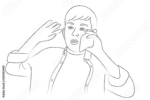 Sketch portrait of a teenage boy who is talking to someone on the phone Wallpaper Mural