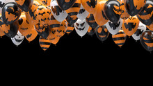 3d Render Halloween Balloons Hitting The Ceiling On Black Background