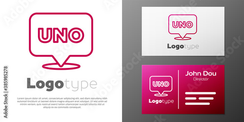 Logotype line Uno card game icon isolated on white background Wallpaper Mural