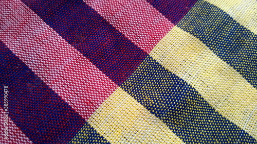Fotomural Purple dark loincloth texture with cream gingham seamless pattern, abstract plaid, Texture background abstrac concept, for Loincloth or Thai bathing cloth