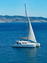 White Catamaran Yacht Sailing ...