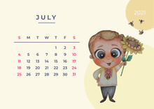 Calendar 2021 Watercolor. Template For July. Watercolor Drawing - A Cute Man Stands With A Flower Sunflower In His Hands. Design Planner, Stationery, Print, Kids Collection. Eps10, A3 Format