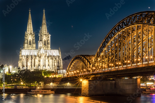 Cologne Cathedral and Hohenzollern bridge Canvas