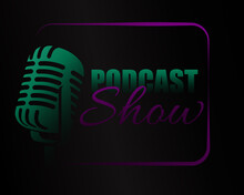 Podcast Show Neon Microphone Icon Background Logo