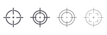Target Destination Icon Set. Aim Sniper Shoot Group. Focus Cursor Bull Eye Mark Collection. Vector Isolated On White