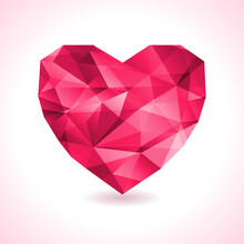 Pink Origami Heart On White Ba...