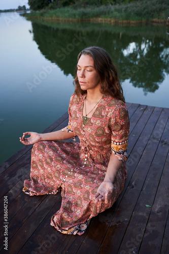Slika na platnu Girl practicing yoga and enjoying meditation