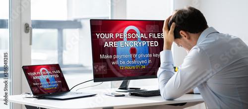 Slika na platnu Ransomware Malware Attack. Business Computer Hacked