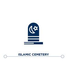 Islamic Cemetery Icon On White...