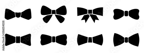 Fotografiet Set bow tie or neck tie simple icons isolated