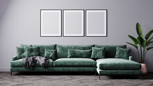 Mock-up Frame In Cozy Light Grey Home Interior Background With Green Sofa And Three Frames.3d Render