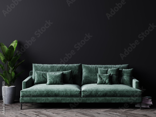 Luxury dark living room interior background, black empty wall mock up, living room mock up, modern living room with green sofa and plant, scandinavian style, 3d rendering - fototapety na wymiar