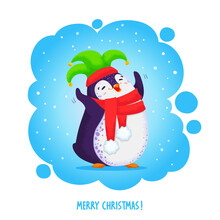 Happy Dancing Penguin In An Elven Hat And Red Scarf. Cartoon Vector Illustration. Pre-made Postcard With Text Merry Christmas.
