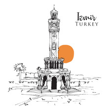 Drawing Sketch Of The Clock Tower At Konak Square In Izmir, Turkey
