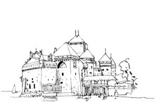 Drawing Sketch Illustration Of Chillon Castle, Lake Geneva, Switzerland