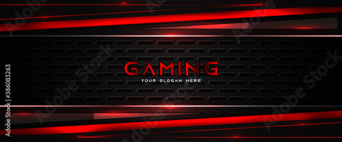 Fotografia Futuristic red and black abstract gaming banner design template with metal technology concept