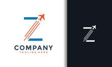 Letter Z Plane Flight Logo