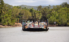 Daintree Car And Passenger Ferry Crossing The Daintree River Tropical Queensland
