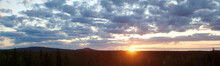 Panoramic Image Of Sunrise Behind Mount Vithatten In Southern Lapland
