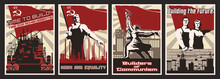 Retro Soviet Propaganda Poster Set, Indusrial Backgrounds, Workers And Factory