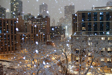Snowy Storm Hazy Night In New York City With Trees And Buildings