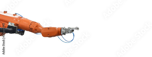Leinwand Poster Industrial robot mechanical arm on white background
