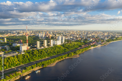 Perm, a large city of the Urals, the capital of the Perm Territory from a bird's eye view, drone photography Fotobehang