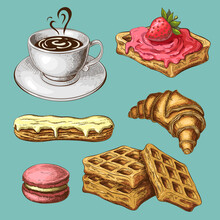 Pastry With Coffee Clipart. Co...