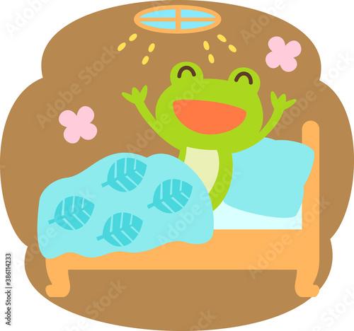 冬眠から目覚めるカエルのキャラクター Wallpaper Mural