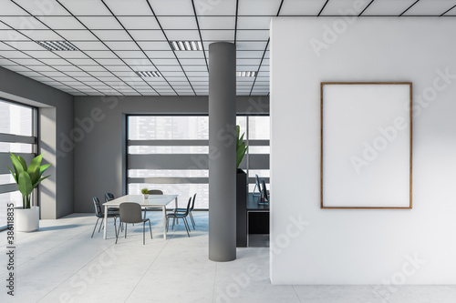 Gray open space office with poster Canvas