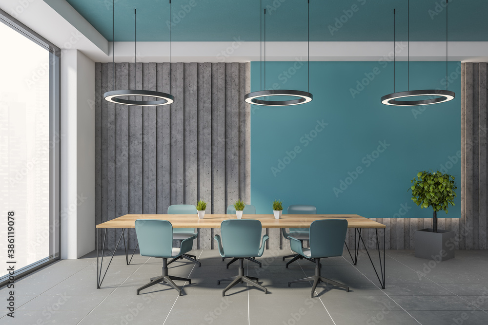 Fototapeta Blue and gray office meeting room